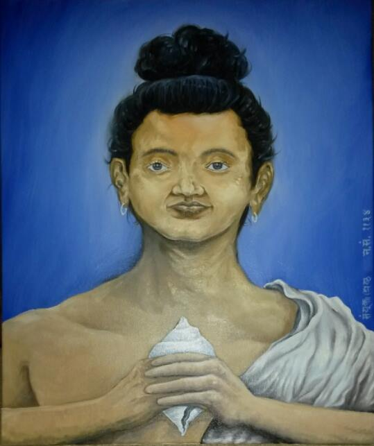 A painting of Shankhadhar Shakhwa by Sanyukta Shrestha, 2014.